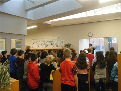 6th grade chorus in the Library