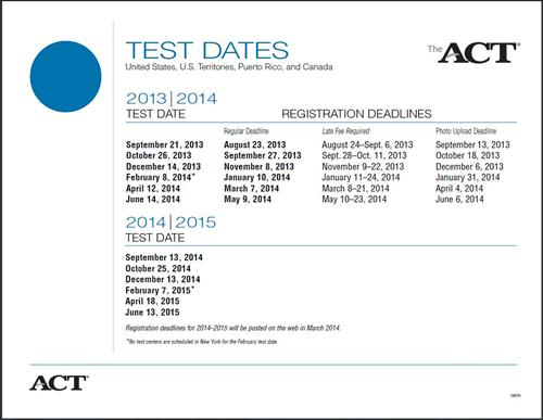 2014 2015 testing dates 2014 2015 act test dates registration